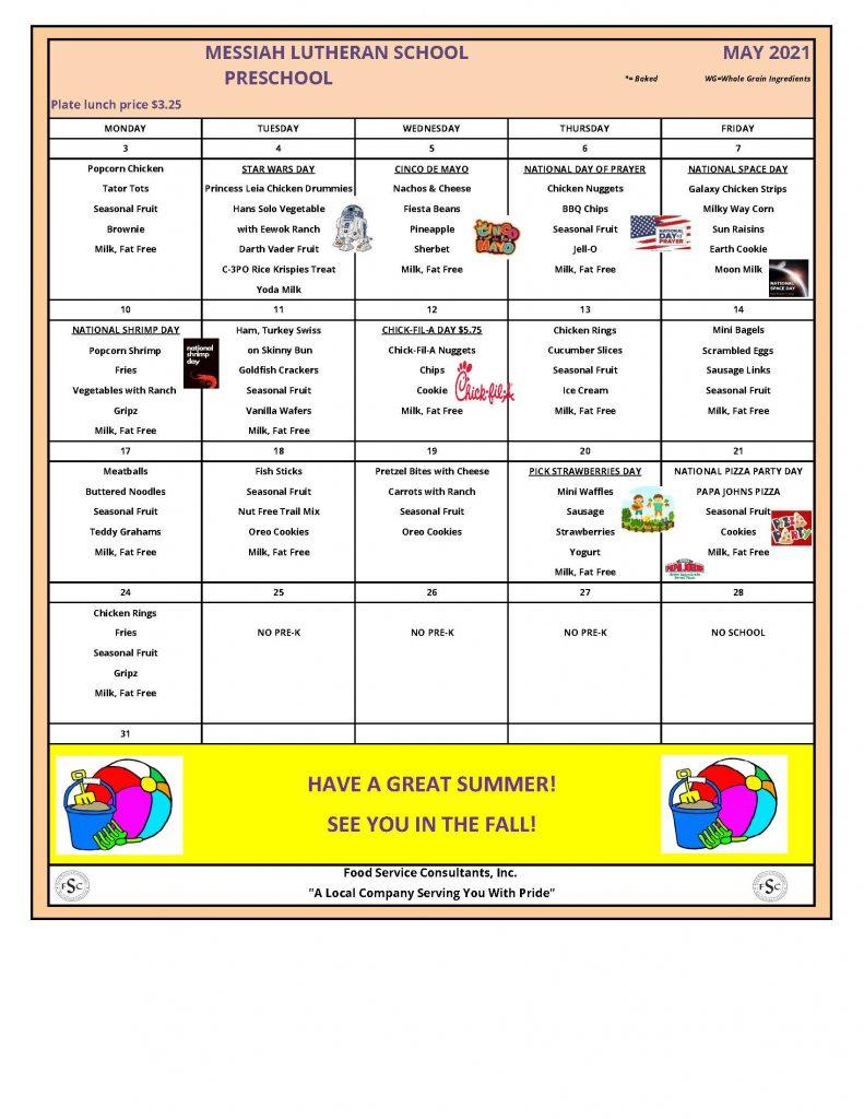 May 2021 Messiah St. Charles Preschool Lunch